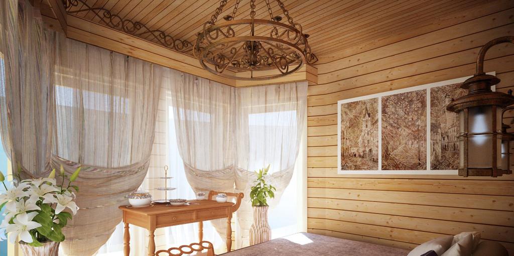 Дизайн и интерьер балкона с деревянной вагонкой.
